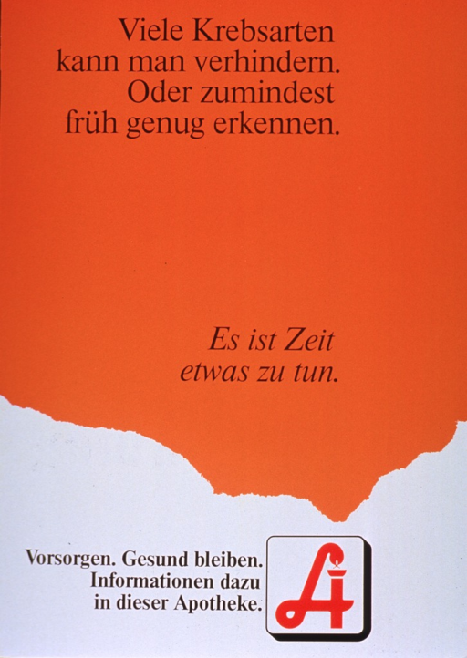 <p>Red and white poster with black lettering.  Title at top of poster.  Note in center of poster.  Visual image is publisher logo, a stylized &quot;A&quot; that incorporates a snake.  Additional text by logo encourages the reader to take steps to stay healthy and get information from a pharmacist.  Poster has a fold-out support and is mounted on thick cardboard, making it suitable to stand on a counter or table.</p>