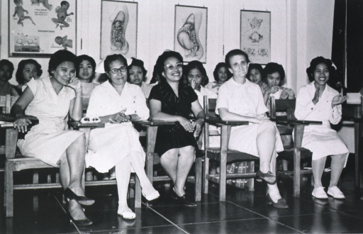 <p>Showing a group of student midwives in a classroom at the Cebu School of Midwives and Cebu Maternity House, Cebu City, Philippines.</p>