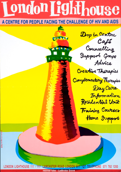 <p>Multi-color poster showing the drawing of a lighthouse in bright colors. The picture caption is in cursive down the right side of the poster.</p>