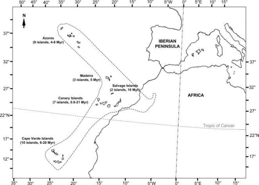 The phytogeographic region of Macaronesia, including five Atlantic volcanic archipelagos (the Azores, the Madeiras, the Salvage Islands, the Canary Islands, and the Cape Verde Islands).The age of current above-sea landmass for each island is from [2].