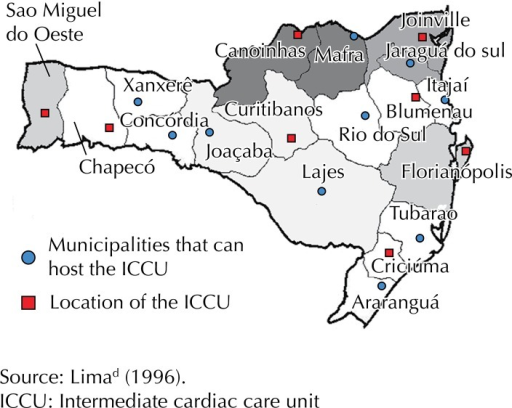 Location of the eight intermediate cardiac care units. Santa Catarina, Southern Brazil, 1996.
