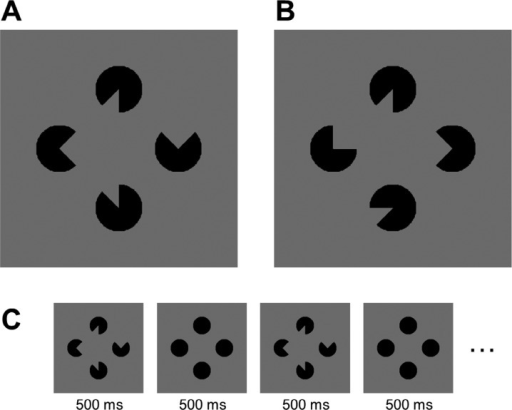 (A) Illusory shape stimulus example. (B) Control configuration example. (C) Trial sequence with alternating stimuli in the illusory shape condition. Note that this sequence does not depict the stimuli for the letter nor figure tasks.