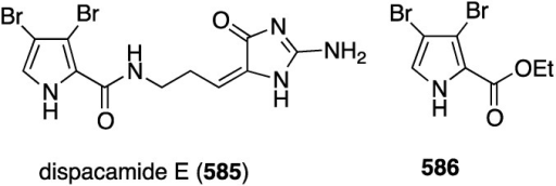 Structures of dispacamide E (585) and pyrrole 586 from the sponges Stylissa massa and Stylissa flabelliformis [207].