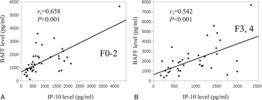 Relationship between BAFF level and IP-10 level in patients with or without advanced fibrosis (F3 or more). (A) In patients without advanced fibrosis, the serum BAFF level significantly correlated with serum IP-10 level (rs = 0.658, P < 0.001). (B) In patients with advanced fibrosis, the serum BAFF level significantly correlated with serum IP-10 level (rs = 0.542, P < 0.001). BAFF = B-cell activating factor belonging to the tumor necrosis factor family, IP-10 = interferon-γ-inducible protein-10.