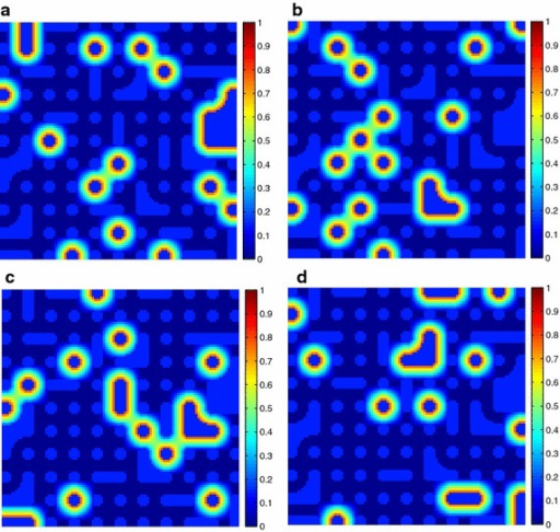 The ground-truth fractional abundance maps of endmember 1, 3, 5 and 7 for SI-2. a Endmember 1, b Endmember 3, c Endmember 5, d Endmember 7