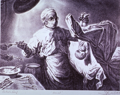 <p>Interior view in a delivery room: the physician is holding the newborn infant by its feet and is reaching for an instrument to sever the umbilical cord. On the right the mothers legs are in the stirrups, on the left is a table with various instruments.</p>