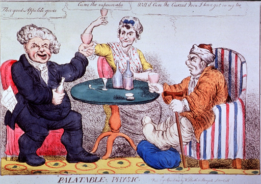 <p>Two men and a woman are sitting around a table drinking to their health; the man on the right suffers from gout.</p>