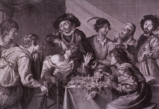 <p>Interior scene in which a toothpuller extracts a man's tooth, while a group stands by and watches.  On the table are instruments, pharmaceuticals, and the toothpuller's diplomas.</p>