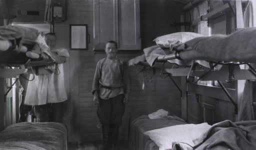 <p>The interior of a hospital train ward for patients with light cases.</p>