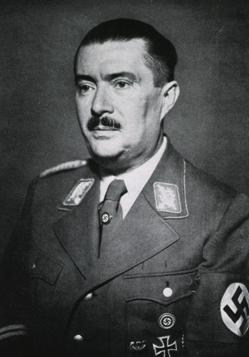 <p>Head and shoulders, left pose, wearing Nazi uniform, Swastika arm-band, other decorations.</p>