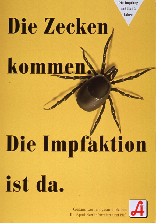 <p>Predominantly bright yellow poster with black lettering.  Note in upper right corner.  Title dominates poster.  Visual image is a black and white picture of a tick.  Additional text in lower right corner urges the reader to become and stay healthy and indicates that a pharmacist can help.  Publisher logo in lower right corner is a stylized &quot;A&quot; that incorporates a snake.</p>