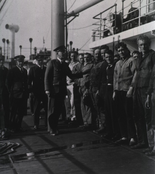 <p>Officials review a crew from a cargo vessel.  The crew stands in a line and looks at the camera.</p>