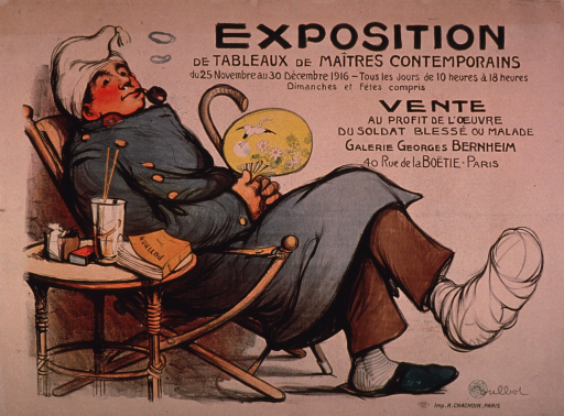 <p>Predominantly discolored white poster with black lettering announcing an art exhibit held Nov.-Dec., 1916.  Title in upper right corner.  Visual image is an illustration of a soldier with a foot wound, relaxing in a comfortable chair.  He smokes a pipe and holds a fan decorated with a design incorporating flowers and a crane.  Note text below title indicates that the sale of the works will benefit wounded or sick soldiers.  Publisher information in lower right corner.</p>
