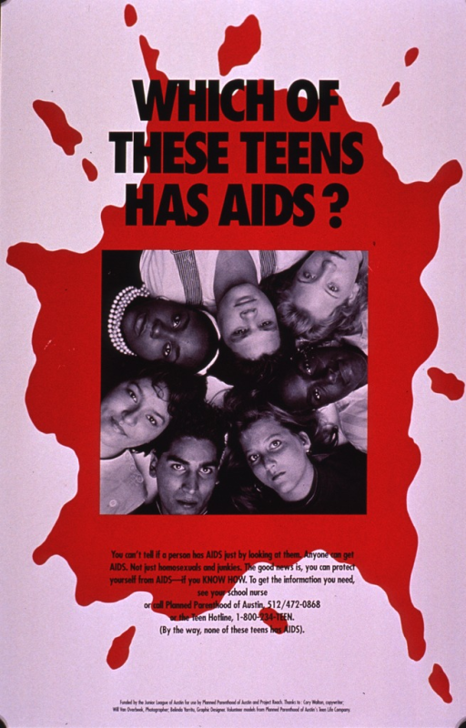 <p>White poster with a photo reproduction in the center superimposed on a splash of red paint. The photo shows the faces of 7 young people arranged in a circle, their heads at the interior of the circle. They represent various ethnic and socioeconomic backgrounds and have serious looks on their faces. The picture caption is in small black print below the photo.</p>