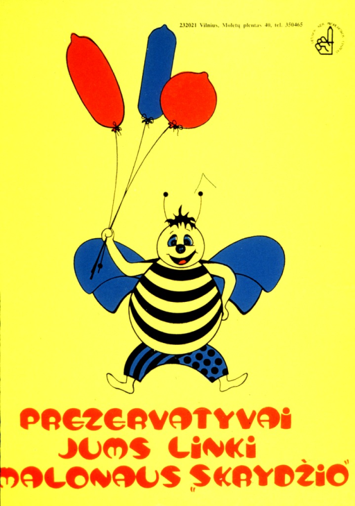 <p>A happy bumble bee is holding three inflated condoms on a string.</p>