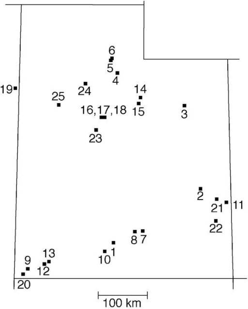 Twenty-five study sites located in the Intermountain West Topography and elevation separate nearby field sites that are close together.