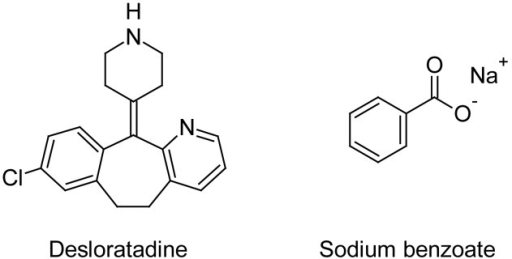 Chemical structures of desloratadine and sodium benzoate.