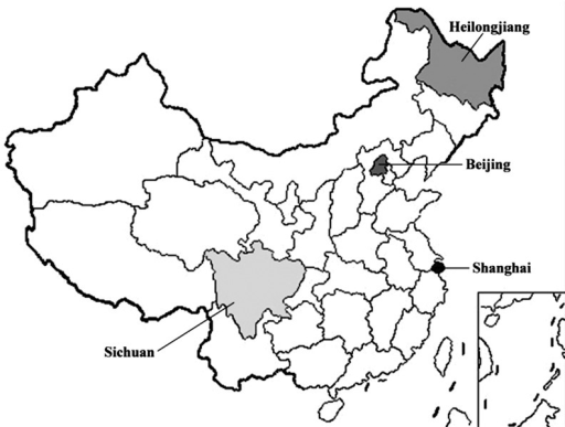 The Sample Provinces of China in this study.