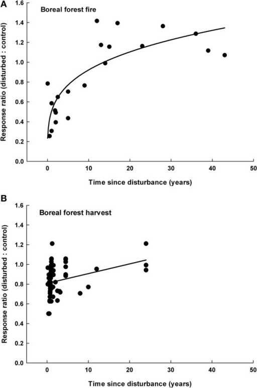 The response ratio of microbial biomass as a function of the time since disturbance following boreal forest fires (A) and boreal forest harvesting (B). Response ratios significantly increased with time after boreal forest fires [R = 0.51 × (time since disturbance) ∧ 0.26, n = 21, r2 = 0.793, P < 0.0001] and boreal forest harvest (R = 0.01 × time since disturbance + 0.81, n = 32, r2 = 0.201, P = 0.010).