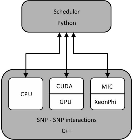 SNPsyn software architecture. Computation of SNP-SNP interaction is coded in C++ for the CPU, CUDA and MIC architectures. The scheduler that invokes the three heterogeneous implementations is written in Python.