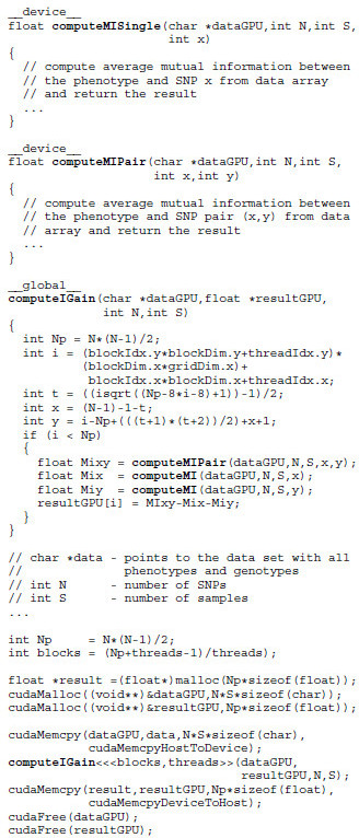 CUDA code snippet. Variables threads and blocks store the thread configuration. Function cudaMemcpy feeds the data into the GPU and retrieves the results afterwards. Each of the preconfigured GPU threads independently executes the computeIGain function and scores the associated SNP pair.