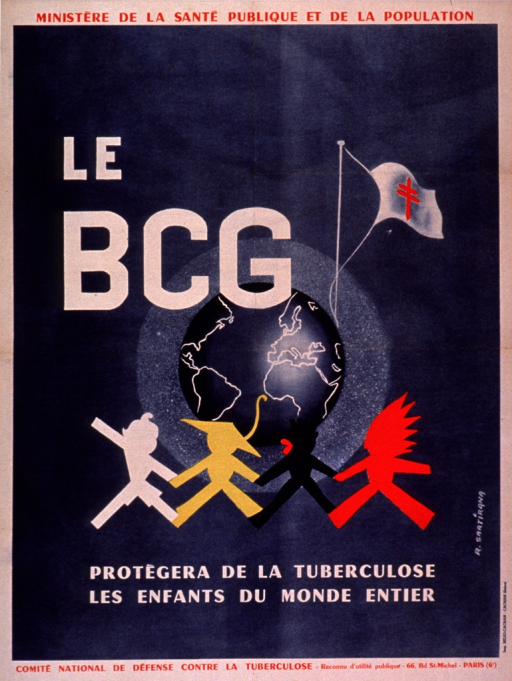 <p>Predominantly blue poster with red and white lettering.  Some publisher information at top of poster.  Visual image is an illustration of the earth.  Four figures, symbolizing children of different races, walk in front of the earth; a flag bearing the double-barred Cross of Lorraine flies in the background.  Initial title words superimposed on illustration.  Remaining title text and publisher information below.</p>