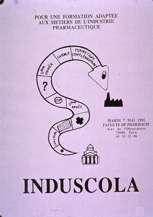 <p>Predominantly white poster with black lettering, perhaps announcing an event.  Note at top of poster addresses education adapted to the pharmaceutical industry.  Visual image is an illustration of a snake coiled into an &quot;s&quot; shape.  The snake's body has been divided into squares suggestive of a board game.  Date and location to right of snake, title below.</p>