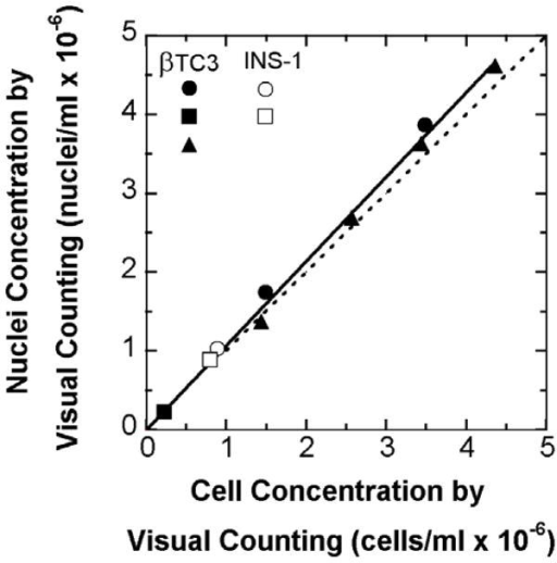 Nuclei concentration versus cell concentration for INS-1 and βTC3 cells, both measured by visual counting with a hemacytometer. Different symbols represent different batches of cells. The dashed line is the line of identity. The fitted line through the origin has a slope of 1.07 ± 0.01. Suspensions of cells were prepared to provide a wide range of concentrations. Six aliquots were taken from each suspension for counting with the hemacytometer, three for nuclei and three for cell concentration.