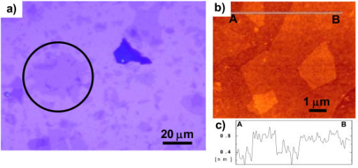 Images of synthesized GO flakes. (a) Optical microscope image of synthesized GO flakes, (b) AFM height image of monolayer GO flakes, and (c) line profile in image (b).