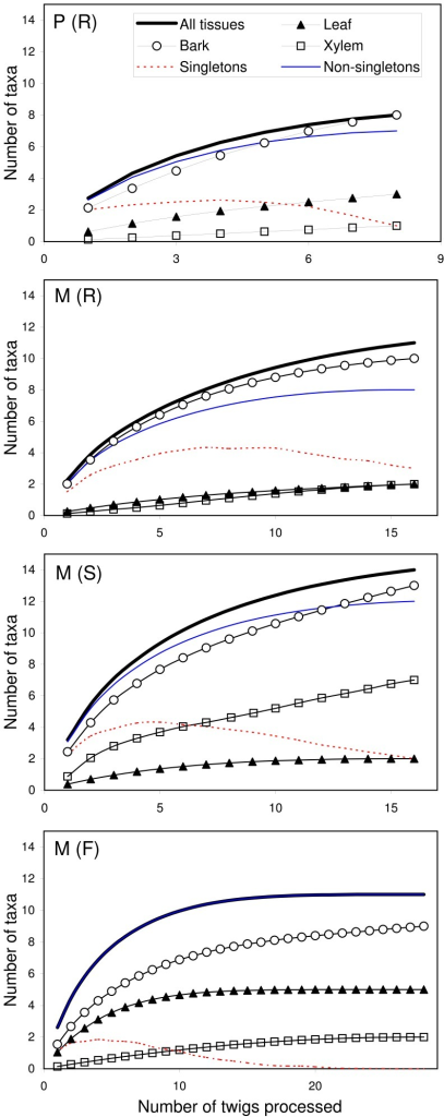 Accumulation curves of elm endophytic fungi.Accumulation curves indicating the number of endophyte morphotaxa isolated per number of twigs processed (four twigs per tree, and four leaf, bark and xylem samples per twig) in each tree group [P (R) = resistant U. pumila clones from Puerta de Hierro Forest Breeding Centre; M (R) = resistant U. minor clones from Puerta de Hierro Forest Breeding Centre; M (S) = susceptible U. minor clones from Puerta de Hierro Forest Breeding Centre; and M (F) = U. minor trees from Rivas-Vaciamadrid field site].