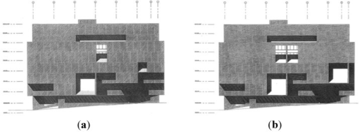 Orthographic Atlanta Public Library façade drawings used for the experiment. (a) Design by Marcel Breuer; (b) Design composition altered by research team.