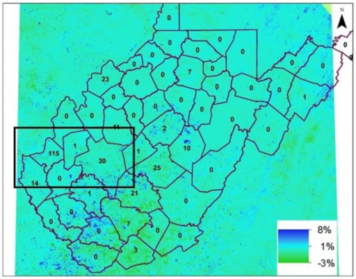 Percentage change in NDVI in July 2012 with respect to July 2011. The inset numbers on map are the WNV positive mosquitoes in year 2012 in counties of West Virginia. (Black box in the figure – 38.6825°N to 37.8788°N; 82.5844°W to 81.0955°; and include Cabell and Kanawha counties of West Virginia).