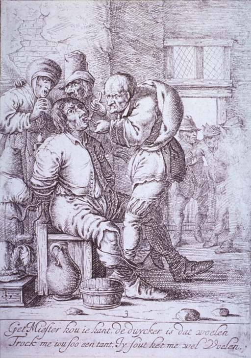 <p>Street scene: A man, tied to a chair, is having a tooth extracted by a charlatan dentist, as two other men observe. In the background, two men are supporting another man (perhaps an intoxicated victim for the dentist?).</p>