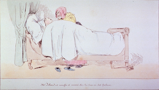 <p>Third in a series of five:  A patient (M. Jobard) is in bed recovering(?) from acute indigestion; an old woman (chambermaid) stands at his bedside.</p>