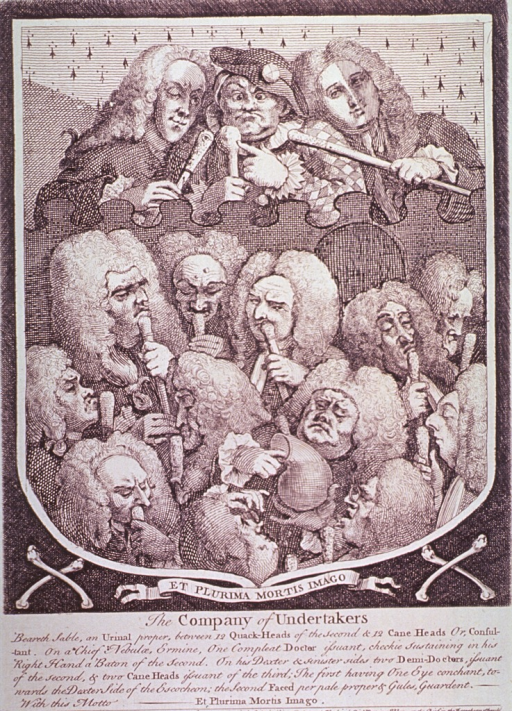 <p>Caricature of twelve physicians consulting on the contents of a urinal.  Pictured above the group are l. to r., Dr. &quot;Spot&quot; Ward, Mrs, Mapp (known as &quot;Crazy Sally&quot;), and Chevalier Taylor, a well-known quack.</p>