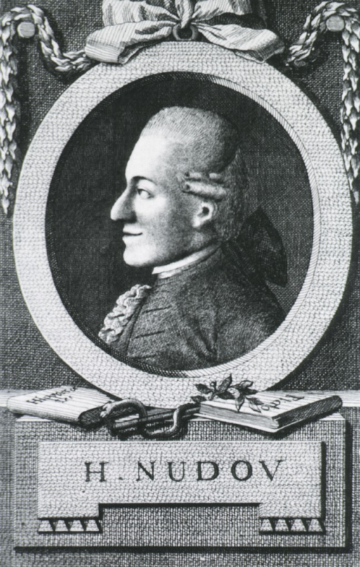 <p>Head and shoulders, left profile, with garlands - ribbon; vignette showing serpent and books; in oval.</p>