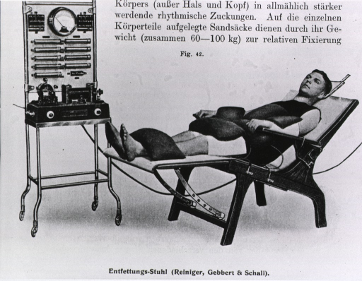 <p>Man reclining in chair, attached by several electrodes to an electrical machine.</p>