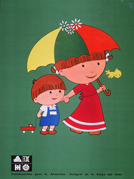 <p>Green poster with black lettering.  No title or subject-related text on poster.  Visual image is an illustration of a girl holding an umbrella or parasol, walking hand in hand with a little boy.  The little boy has a toy truck on a string.  Publisher information at bottom of poster along with logos of health agencies.</p>
