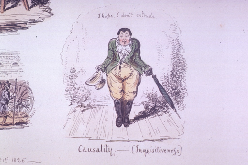 <p>A man with large hips, hat in one hand, umbella in the other, is standing on a stage in front of a sign: I hope I don't intrude.</p>