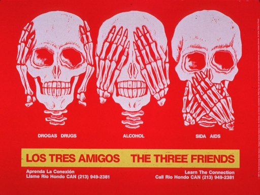 <p>Predominantly bright pink poster with bright pink and white lettering.  Visual images are illustrations of three skulls and skeletal hands acting out &quot;hear no evil, see no evil, speak no evil.&quot;  Portions of the caption text below each.  Title below caption; note below title.  Publisher information on right side of poster.</p>