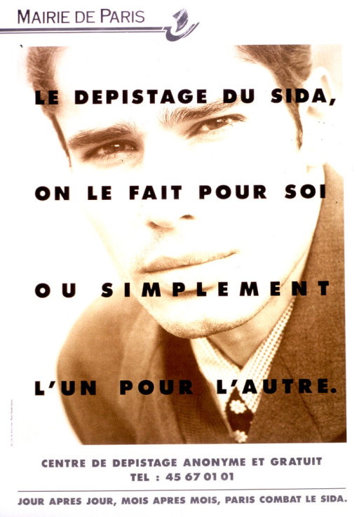 <p>The title of the poster is printed across the photographic representation of a young man, from the shoulders up, dressed in a suit and tie.</p>