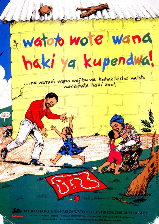 <p>Multicolor poster.  Poster features an illustration of parents and two children in the yard by their house.  Title on wall of house, near top of poster.  The mother hugs the son and the daughter runs toward the father with open arms, as if to embrace him.  There is a health education board game (Afya Kwanza!) on the ground.  A small cat peeks around the corner of the house and speaks the note text, which means &quot;totally equal.&quot;  Publisher information at bottom of poster.</p>
