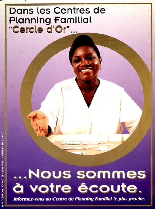 <p>Predominantly purple poster with multicolor lettering.  Initial title phrase at top of poster.  Visual image is a color photo reproduction featuring a health worker with an array of contraceptives in front of her.  The photo is surrounded by a gold circle.  Remaining title text below photo.  Publisher and sponsor information on left side of poster.</p>