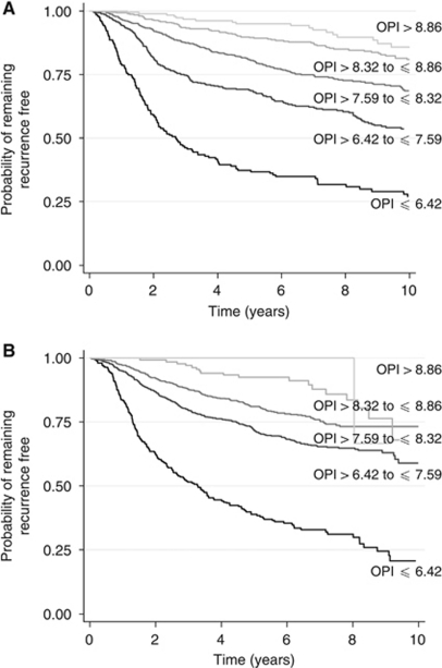 Kaplan–Meier recurrence-free survival curves for the Churchill Hospital (A) and ABC (B) data sets for five prognostic groups. (OPI cutoff values used to create groups are ⩽6.42, >6.42 to ⩽7.59, >7.59 to ⩽8.32, >8.32 to ⩽8.86, and >8.86).