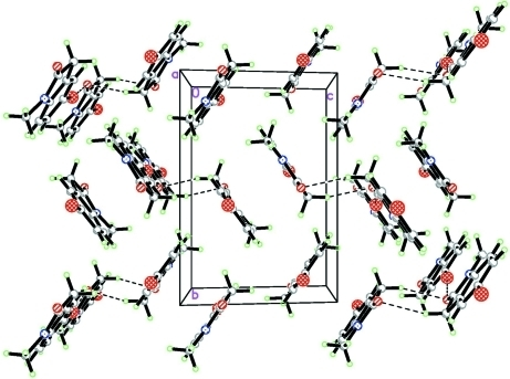 A a axis view of the molecular packing of (I).