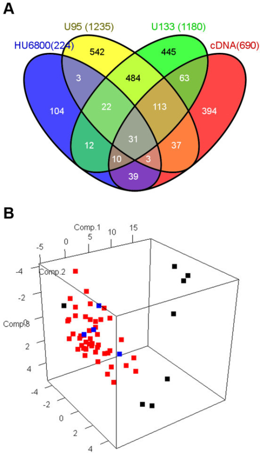 Identification of 31 radiosensitivity signature genes in NCI-60 cell lines. A. Venn diagram showing selection of 31 common radiosensitivity signature genes and 179 genes that were selected in more than three platforms from four microarray experiments. B. Principal component analysis with gene expression profile using 31 radiosensitivity signature genes. Each cell line is represented as a radiosensitive group (SF2 <0.2; black), an intermediate group (SF2 between 0.2 and 0.8; red), and a radioresistant group (SF2 >0.8; blue).