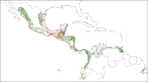 Geographic distribution of the 22,731 valid distributional records of cracids in the CracidMex1 database. Present pattern of forest cover is depicted in green shading. Forest cover was obtained from INEGI (2012) for Mexico, the World Bank and CCAD (2000) for Central America, and the European Commission Joint Research Centre (http://www-gem.jrc.it/glc2000) for South America.