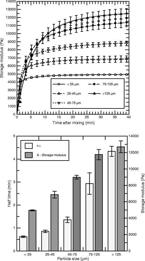 Storage modulus and kinetics of alginate gels as a function of particle size. Upper panel: Storage modulus of alginate gels as a function of time for gels made of sodium alginate (Fg = 0.7 and MW = 219 kDa) and Sr alginate at different particle sizes. The total alginate concentration was 2.1%, consisting of 1.0% from sodium alginate and 1.1% from Sr alginate. The curves were fitted by eq. 1 to the average data from three independent runs. Lower panel: Calculated maximum storage modulus (A) and half time (t1/2) for the fitted data. Error bars denote the standard error of the mean calculated at each data point, and are shown when exceeding the dimension of point markers.