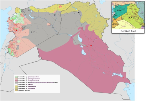 Syria and Iraq 2014-onward war map—occupied territories.By Wikimedia Commons user BlueHypercane761. Available here: https://commons.wikimedia.org/wiki/File:Syria_and_Iraq_2014-onward_War_map.png.