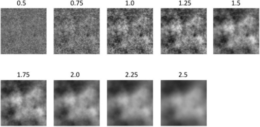 A subset of the experimental image used in Experiment 1b: From left to right the amplitude spectrum slope values are: 0.5, 0.75, 1.0, 1.25, 1.5, 1.75, 2.0 and 2.5.